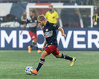 FOXBOROUGH, MA - SEPTEMBER 02: Kelyn Rowe #11 of New England Revolution passes the ball during a game between New York City FC and New England Revolution at Gillette Stadium on September 02, 2020 in Foxborough, Massachusetts.