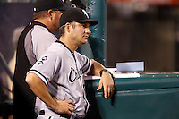 Chicago White Sox Manager Robin Ventura #23 during a game against the Los Angeles Angels at Angel Stadium on September 22, 2012 in Anaheim, California. Los Angeles defeated Chicago 4-2. (Larry Goren/Four Seam Images)