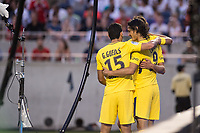 Orlando, FL - Saturday July 22, 2017: Goncalo Guedes, Edinson Cavani celebrate a goal during the International Champions Cup (ICC) match between the Tottenham Hotspurs and Paris Saint-Germain F.C. (PSG) at Camping World Stadium.