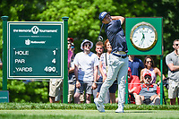 5th June 2021; Dublin, Ohio, USA; Viktor Hovland (NOR) watches his tee shot on 1 during the Memorial Tournament Rd3 at Muirfield Village Golf Club on June 5, 2021 in Dublin, Ohio.