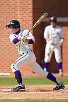 Josh Spano #21 of the High Point Panthers follows through on his swing against the Dayton Flyers at Willard Stadium on February 26, 2012 in High Point, North Carolina.    (Brian Westerholt / Four Seam Images)