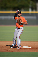 Baltimore Orioles second baseman Alexis Torres (45) during practice before an Instructional League game against the New York Yankees on September 23, 2017 at the Yankees Minor League Complex in Tampa, Florida.  (Mike Janes/Four Seam Images)