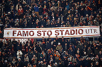 """Calcio, Serie A: Roma, Stadio Olimpico, 7 febbraio 2017.<br /> Roma fans show a banner reading, in Roman slang, """"Let's make this stadium"""", during the Italian Serie A football match between AS Roma and Fiorentina at Roma's Olympic Stadium, on February 7, 2017.<br /> UPDATE IMAGES PRESS/Isabella Bonotto"""