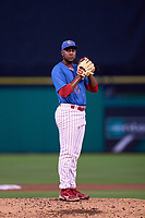Clearwater Threshers pitcher Gabriel Yanez (22) during a game against the Fort Myers Mighty Mussels on July 29, 2021 at BayCare Ballpark in Clearwater, Florida.  (Mike Janes/Four Seam Images)