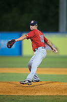 Elizabethton Twins relief pitcher Tyler Stirewalt (23) in action against the Kingsport Mets at Hunter Wright Stadium on July 9, 2015 in Kingsport, Tennessee.  The Twins defeated the Mets 9-7 in 11 innings. (Brian Westerholt/Four Seam Images)
