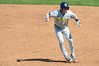 Michigan Wolverines infielder Dylan Delaney #38 leads off first during an exhibition game against the New York Mets at Tradition Field on February 24, 2013 in St. Lucie, Florida.  New York defeated Michigan 5-2.  (Mike Janes/Four Seam Images)