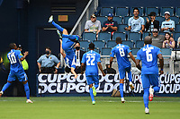 KANSASCITY, KS - JULY 11: Emmanuel Riviere #11 of Martinique celebrates his goal with a back flip during a game between Canada and Martinique at Children's Mercy Park on July 11, 2021 in KansasCity, Kansas.