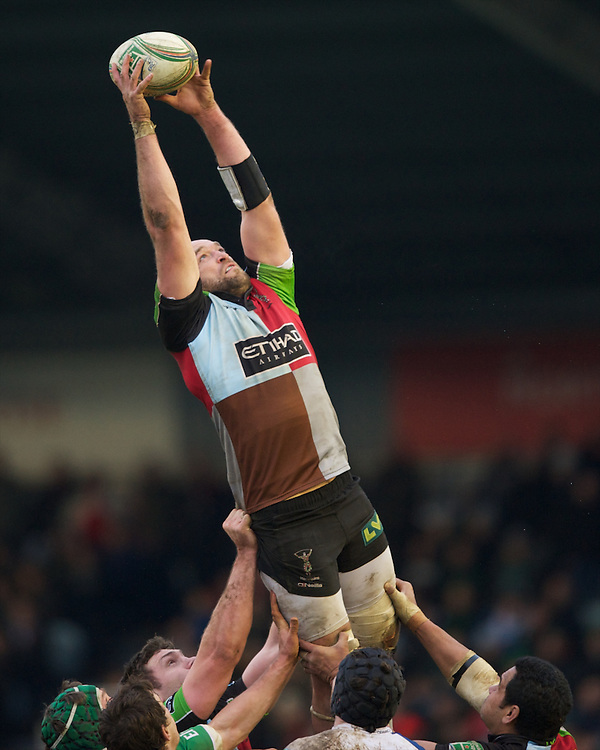 George Robson of Harlequins at full stretch during the Heineken Cup match between Harlequins and Connacht Rugby at The Twickenham Stoop on Saturday 12th January 2013 (Photo by Rob Munro).