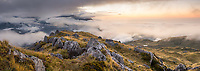 Views towards West Coast from Mount Fox at twilight with fog, Westland Tai Poutini National Park, West Coast, South Westland, UNESCO World Heritage Area, New Zealand, NZ