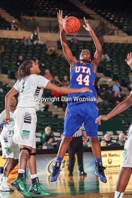Texas Arlington Mavericks forward Desherra Nwanguma (44) in action during the game between the Texas Arlington Mavericks and the North Texas Mean Green at the Super Pit arena in Denton, Texas. UTA defeats UNT 59 to 50...