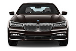 Car photography straight front view of a 2018 BMW 7-Series-Plug-In-Hybrid 740Le-iPerformance 4 Door Sedan Front View