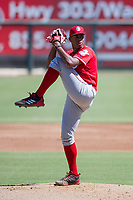 Cincinnati Reds pitcher Hunter Greene (21) delivers a pitch to the plate during an Instructional League game against the Kansas City Royals October 2, 2017 at Surprise Stadium in Surprise, Arizona. (Zachary Lucy/Four Seam Images)