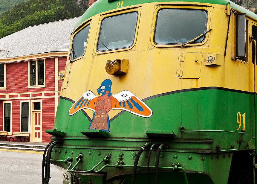 White Pass & Yukon Route touring train car in Skagway, AK, Alaska