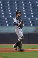 Fort Myers Mighty Mussels catcher Kyle Schmidt (37) during a game against the Tampa Yankees on May 19, 2021 at George M. Steinbrenner Field in Tampa, Florida. (Mike Janes/Four Seam Images)