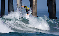 HUNTINGTON BEACH, California - July 2016: The 2016 Vans U.S. Open of Surfing a WSL Qualifying Series (QS) event held on the South side of the Huntington Beach pier.