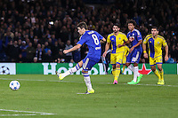 Oscar of Chelsea scores his team's second goal (penalty) against Maccabi Tel-Aviv to make it 2-0 during the UEFA Champions League match between Chelsea and Maccabi Tel Aviv at Stamford Bridge, London, England on 16 September 2015. Photo by David Horn.
