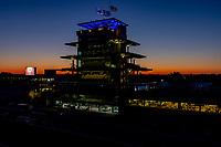 30th May 2021, Indianapolis, Indiana, USA;  The sunrise over the Pagoda before the 105th running of the Indianapolis 500 on May 30, 2021 at the Indianapolis Motor Speedway in Indianapolis, Indiana.