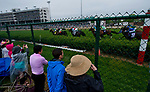 LOUISVILLE, KY - MAY 05: Fans watch the race through the fence in the infield on Kentucky Derby Day at Churchill Downs on May 5, 2018 in Louisville, Kentucky. (Photo by Scott Serio/Eclipse Sportswire/Getty Images)