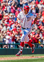 30 July 2017: Washington Nationals first baseman Ryan Zimmerman rounds the bases after hitting a 3-run homer to tie the game at 4-4 in the bottom of the 3rd inning against the Colorado Rockies at Nationals Park in Washington, DC. With the homer, the first of two in the game, Zimmerman becomes Washington's all-time home run leader, passing Frank Howard with his 238th career longball. The Rockies defeated the Nationals 10-6 in the second game of their 3-game weekend series. Mandatory Credit: Ed Wolfstein Photo *** RAW (NEF) Image File Available ***