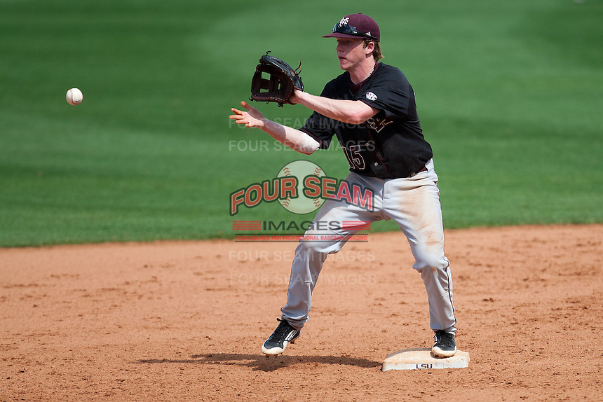 Mississippi State Bulldog second baseman Matthew Britton #15 catches a ball at second base during the NCAA baseball game against the LSU Tigers on March 18, 2012 at Alex Box Stadium in Baton Rouge, Louisiana. LSU defeated Mississippi State 4-2. (Andrew Woolley / Four Seam Images).
