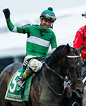 BALTIMORE, MD - MAY 21: Kent J. Desormeaux, aboard Exaggerator #5, acknowledges the crowd after winning the the 141st running of the Preakness Stakes at Pimlico Race Course on May 21, 2016 in Baltimore, Maryland. (Photo by Zoe Metz/Eclipse Sportswire/Getty Images)
