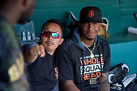San Jose Giants trainer Ryo Watanabe poses for a photo with pitcher Jose Marte (40) before a California League game against the Visalia Rawhide on April 13, 2019 at San Jose Municipal Stadium in San Jose, California. Visalia defeated San Jose 4-2. (Zachary Lucy/Four Seam Images)