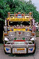 Philippines: Manila--Jeepney, frontal view. Photo '82.