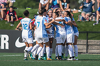 Allston, MA - Saturday August 19, 2017: Alex Morgan , Orlando Pride celebrate their first goal during a regular season National Women's Soccer League (NWSL) match between the Boston Breakers and the Orlando Pride at Jordan Field.