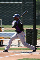 Jose Reyes plays in his first extended spring training game for the Colorado Rockies against the Oakland Athletics at Fitch Park on May 24, 2016 in Mesa, Arizona. Reyes was serving a suspension for alleged domestic violence (Bill Mitchell)