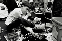 1992 FILE PHOTO - ARCHIVES -<br /> <br /> Lego masterpiece: Eight-year-old Richard McDuff of Quebec won in the 6 to 9 age group of the Canadian National Lego Building Contest yesterday at the Eaton Centre.<br /> <br /> PHOTO : Ron BULL - Toronto Star Archives - AQP
