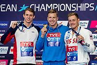 GOVOROVAndriy UKR Golde Medal<br /> PROUDBenjamin GBR Silver Medal<br /> KOSTINOleg RUS Bronze Medal<br /> 50m Butterfly Men Final<br /> Glasgow 07/08/2018<br /> Swimming Tollcross International Swimming Centre<br /> LEN European Aquatics Championships 2018 <br /> European Championships 2018 <br /> Photo Giorgio Scala/ Deepbluemedia /Insidefoto