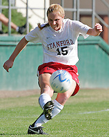 Defender Rachel Buehler sends in a cross. Stanford defeated USC 2-0 in second round action of the NCAA tournament at Buck Shaw Stadium, Santa Clara University, Santa Clara, CA on November 12, 2006.