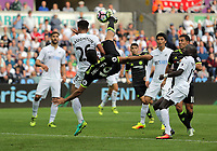 Diego Costa of Chelsea scores his second goal with a bicycle kick during the Premier League match between Swansea City and Chelsea at The Liberty Stadium on September 11, 2016 in Swansea, Wales.