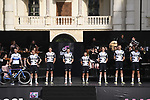 Team Qhubeka Assos on stage at team presentation of the 2021 Giro d'Italia inside the Cortile d'Onore of the Castello del Valentino, on the occasion of the 160th anniversary of the Unification of Italy, Turin, Italy. 6th May 2021.  <br /> Picture: LaPresse/Fabio Ferrari | Cyclefile<br /> <br /> All photos usage must carry mandatory copyright credit (© Cyclefile | LaPresse/Fabio Ferrari)