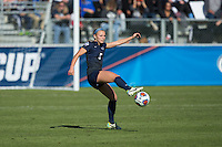 Cary, North Carolina - Sunday December 6, 2015: Maddie Elliston (5) of the Penn State Nittany Lions kicks the ball during second half action against the Duke Blue Devils at the 2015 NCAA Women's College Cup at WakeMed Soccer Park.  The Nittany Lions defeated the Blue Devils 1-0.
