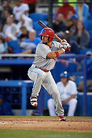 Clearwater Threshers Herlis Rodriguez (27) at bat during a game against the Dunedin Blue Jays on April 8, 2017 at Florida Auto Exchange Stadium in Dunedin, Florida.  Dunedin defeated Clearwater 12-6.  (Mike Janes/Four Seam Images)