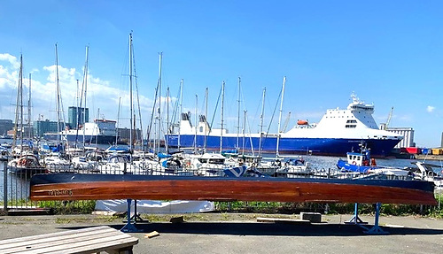 Changed circumstances – Lorelei in her new home at the Stella Maris Club in Ringsend, her slim lines much in evidence in her first appearance in sunshine in 20 years.