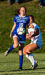LITCHFIELD, CT-110620S09 —Litchfield's Leah Sepples (10) gets s control fo the ball in front of Northwestern's Natalie Brodnitzki (20) during their Berkshire League game Friday at Litchfield High School. <br /> Jim Shannon Republican-American