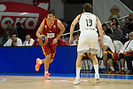 Real Madrid´s Sergio Rodriguez and Galatasaray´s Erceg during 2014-15 Euroleague Basketball match between Real Madrid and Galatasaray at Palacio de los Deportes stadium in Madrid, Spain. January 08, 2015. (ALTERPHOTOS/Luis Fernandez)