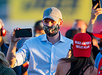 Sep 4, 2020; Clermont, Indiana, United States; Eric Trump, son of United States President Donald Trump in attendance of NHRA qualifying for the US Nationals at Lucas Oil Raceway. Mandatory Credit: Mark J. Rebilas-USA TODAY Sports