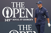 14th July 2021; The Royal St. George's Golf Club, Sandwich, Kent, England; The 149th Open Golf Championship, practice day; Bryson Dechambeau (USA) smiles as he arrives on the first tee