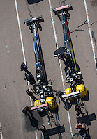 Apr. 28, 2012; Baytown, TX, USA: Aerial view of NHRA top fuel dragster driver David Grubnic (left) with teammate Doug Kalitta during qualifying for the Spring Nationals at Royal Purple Raceway. Mandatory Credit: Mark J. Rebilas-