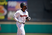 Rochester Red Wings Jaylin Davis (9) rounds the bases after hitting a grand slam home run during an International League game against the Scranton/Wilkes-Barre RailRiders on June 25, 2019 at Frontier Field in Rochester, New York.  Rochester defeated Scranton 10-9.  (Mike Janes/Four Seam Images)