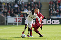 Saturday 2nd March 2013<br /> Pictured: (L-R) Nathan Dyer, Yoan Gouffran.<br /> Re: Barclays Premier Leaguel, Swansea  v Newcastle at the Liberty Stadium in Swansea.