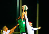 27.02.2015.  Ashbourne RFC, Ireland.  Women's 6 Nations. Ireland V England.<br /> Marie Louise Reilly (Ireland) gets hands to the ball ahead of Harriet Millar-Mills (England).