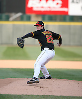 2007:  Kevin Slowely of the Rochester Red Wings delivers a pitch at Frontier Field during a International League baseball game. Photo By Mike Janes/Four Seam Images