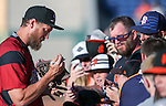 Sacramento River Cats' Hunter Pence signs autographs before a game against the Reno Aces at Greater Nevada Field in Reno, Nev., on Tuesday, July 26, 2016.  <br />Photo by Cathleen Allison