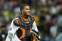 10 March 2009: #50 Kenley Jansen of the Netherlands smiles at the end of the 8th inning during the 2009 World Baseball Classic Pool D game 5 at Hiram Bithorn Stadium in San Juan, Puerto Rico. The Netherlands pulled off second upset to advance to the secound round. The Netherlands come from behind in the bottom of the 11th inning and beat the Dominican Republic, 2-1.