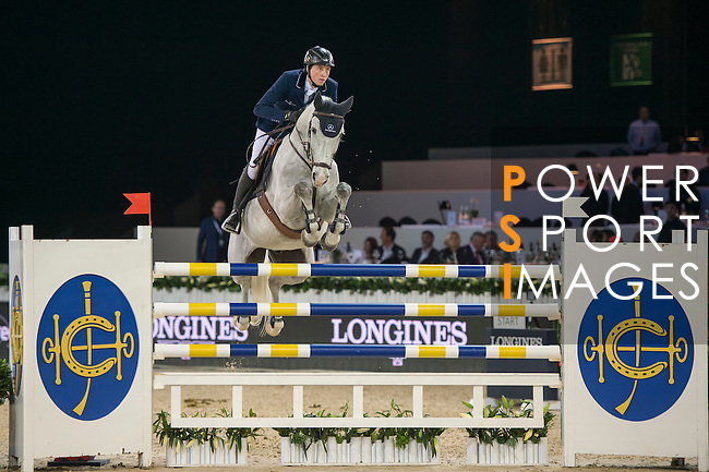 Martin Fuchs of Switzerland riding Clooney during the Hong Kong Jockey Club Trophy competition, part of the Longines Masters of Hong Kong on 10 February 2017 at the Asia World Expo in Hong Kong, China. Photo by Marcio Rodrigo Machado / Power Sport Images