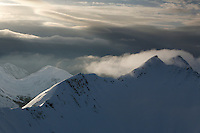 Morning fog over ridge tops in the mountains in Southeast Alaska